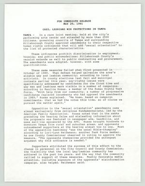 Primary view of object titled '[Press Release: Gays, Lesbians Win Protection in Tampa]'.