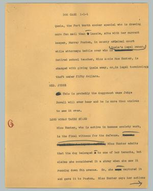 Primary view of object titled '[News Script: Dog case]'.