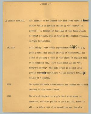 Primary view of object titled '[News Script: Jewels]'.