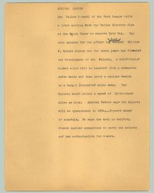 Primary view of object titled '[News Script: Admiral Raborn]'.