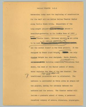 Primary view of object titled '[News Script: Dallas theater]'.