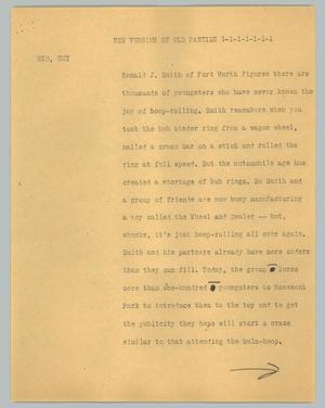 Primary view of object titled '[News Script: New version of an old past time]'.