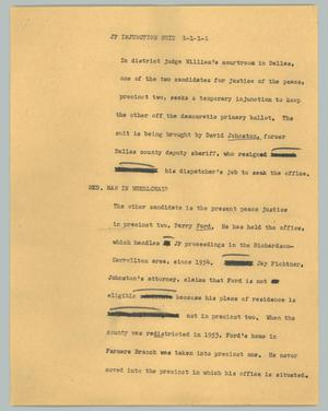 Primary view of object titled '[News Script: JP injunction suit]'.