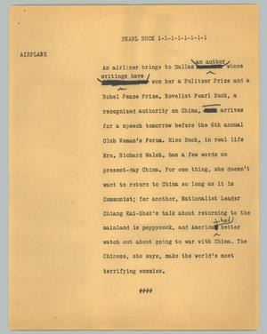 Primary view of object titled '[News Script: Pearl Buck]'.