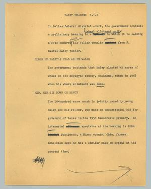 Primary view of object titled '[News Script: Haley hearing]'.