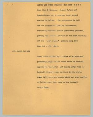 Primary view of object titled '[News Script: Judges and other persons Tex news]'.