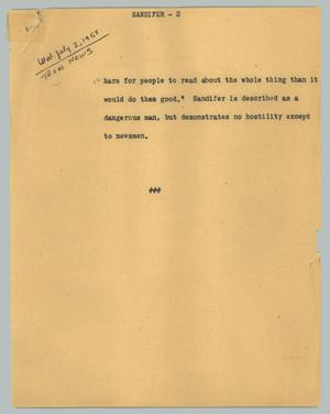 Primary view of object titled '[News Script: Sandifer]'.