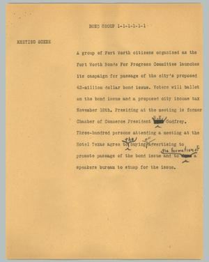 Primary view of object titled '[News Script: Bond Group]'.