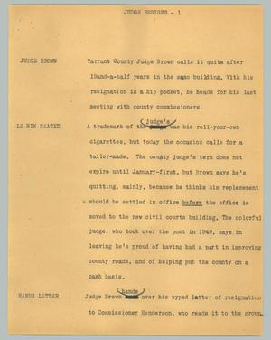 Primary view of object titled '[News Script: Judge resigns]'.