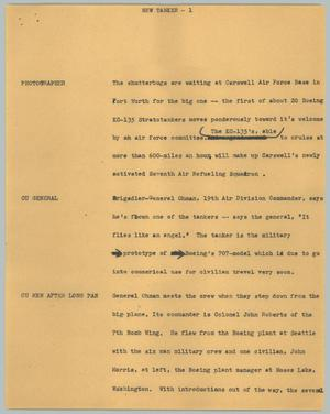Primary view of object titled '[News Script: New tanker]'.