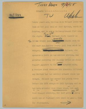 Primary view of object titled '[News Script: Escapee]'.