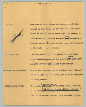Primary view of object titled '[News Script: Pet parade]'.