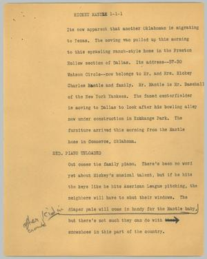 Primary view of object titled '[News Script: Mickey Mantle]'.