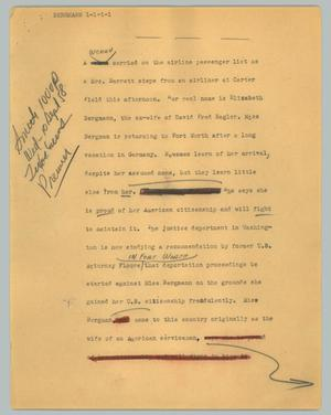 Primary view of object titled '[News Script: Bergmann]'.