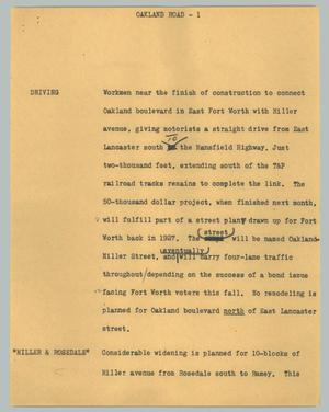Primary view of object titled '[News Script: Oakland Road]'.