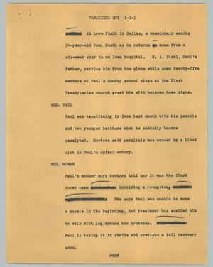 Primary view of object titled '[News Script: Paralyzed boy]'.