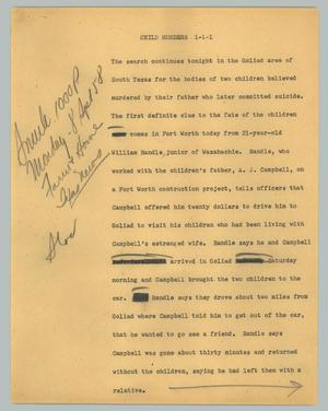 Primary view of object titled '[News Script: Child murders]'.