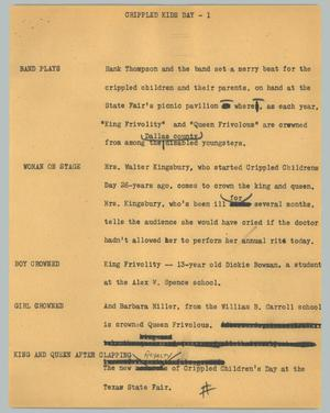 Primary view of object titled '[News Script: Crippled Kids Day]'.