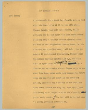 Primary view of object titled '[News Script: Boy burglar]'.