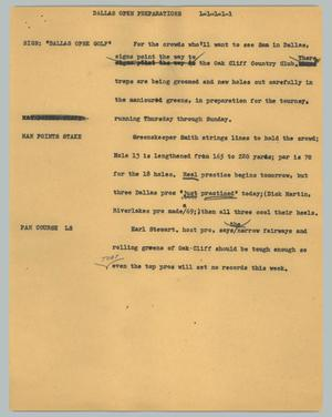 Primary view of object titled '[News Script: Dallas open preparations]'.