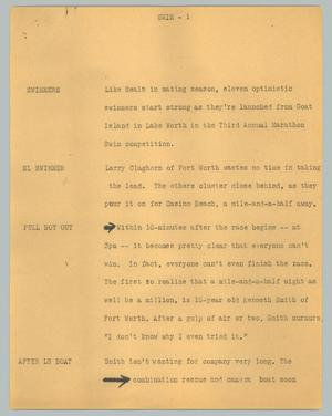 Primary view of object titled '[News Script: Swim]'.