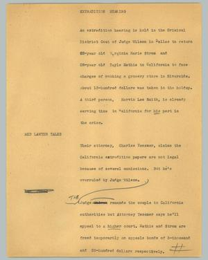 Primary view of object titled '[News Script: Extradition hearing]'.