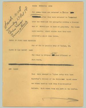 Primary view of object titled '[News Script: Coeds Tex news]'.