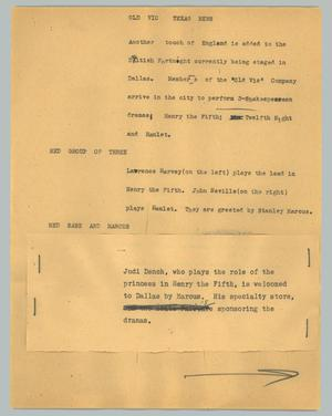 Primary view of object titled '[News Script: Old Vic Texas news]'.