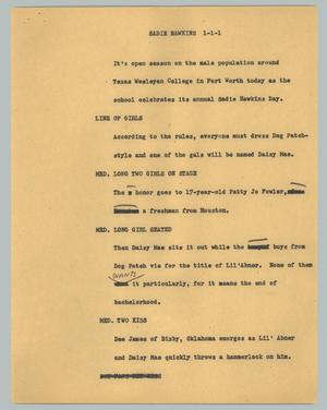 Primary view of object titled '[News Script: Sadie Hawkins]'.
