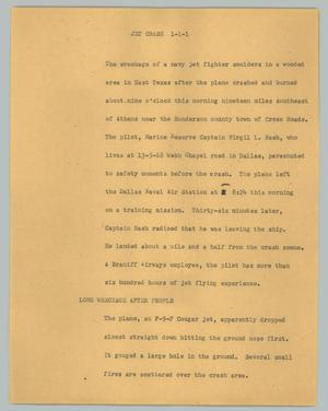 Primary view of object titled '[News Script: Jet crash]'.