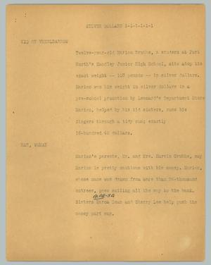 Primary view of object titled '[News Script: Silver dollars]'.