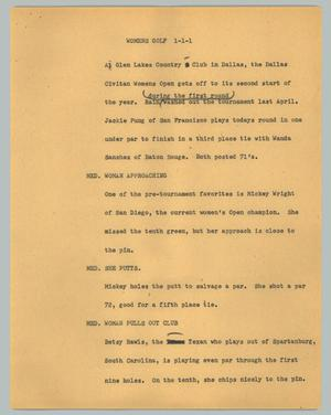 Primary view of object titled '[News Script: Womens Golf]'.