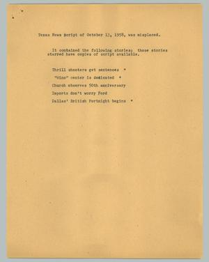 Primary view of object titled '[News Script: Texas news script for October 13, 1958, was misplaced]'.