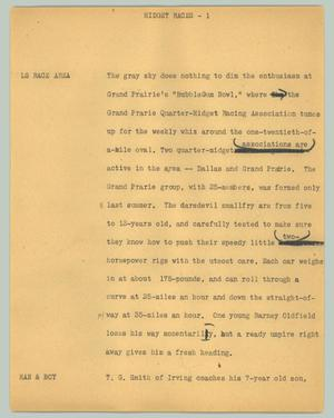 Primary view of object titled '[News Script: Midget Races]'.