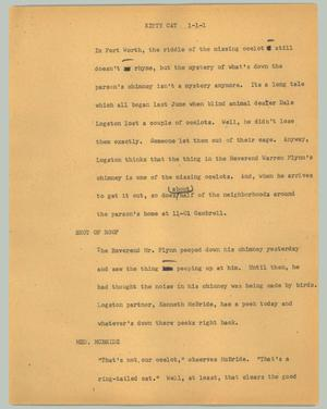 Primary view of object titled '[News Script: Kitty Cat]'.