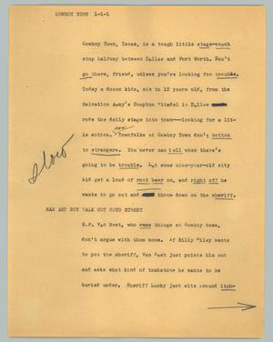 Primary view of object titled '[News Script: Cowboy town]'.