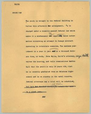 Primary view of object titled '[News Script: Keith]'.