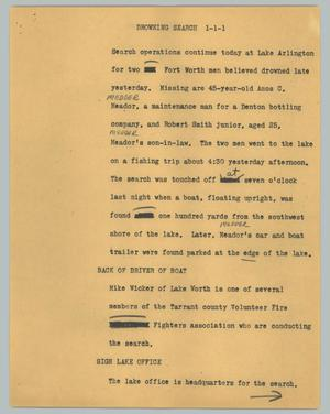 Primary view of object titled '[News Script: Drowning search]'.