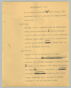 Primary view of object titled '[News Script: Weathervision]'.