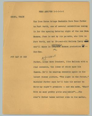 Primary view of object titled '[News Script: Fess arrives]'.