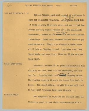 Primary view of object titled '[News Script: Dallas Firemen Burn House]'.