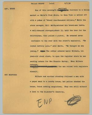 Primary view of object titled '[News Script: Dallas Holdup]'.