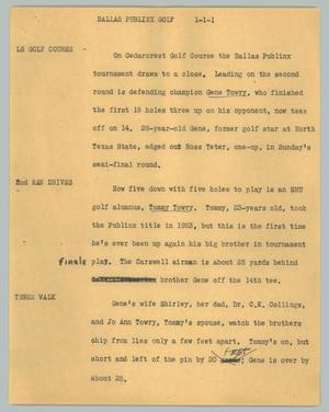 Primary view of object titled '[News Script: Dallas Publinx golf]'.