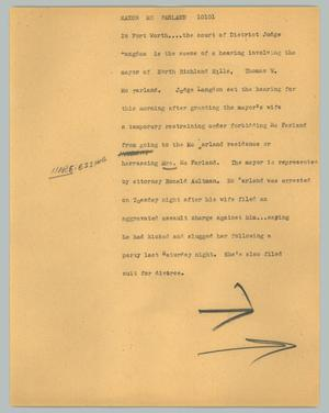 Primary view of object titled '[News Script: Mayor McFarland]'.