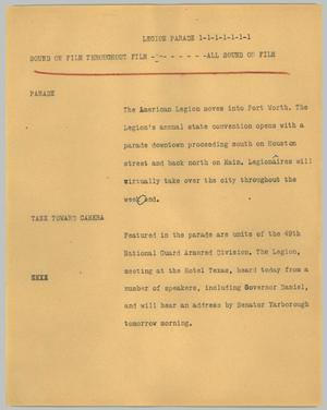 Primary view of object titled '[News Script: Legion parade]'.
