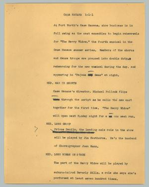Primary view of object titled '[News Script: Casa Manana]'.