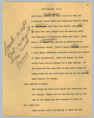Primary view of object titled '[News Script: Bond hearing]'.