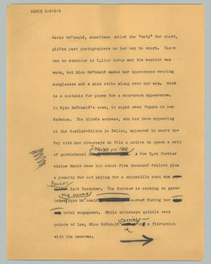 Primary view of object titled '[News Script: Marie]'.