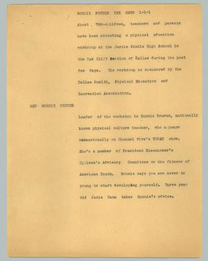Primary view of object titled '[News Script: Bonnie Pruden Tex news]'.