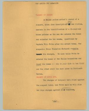 Primary view of object titled '[News Script: Man admits two assaults]'.